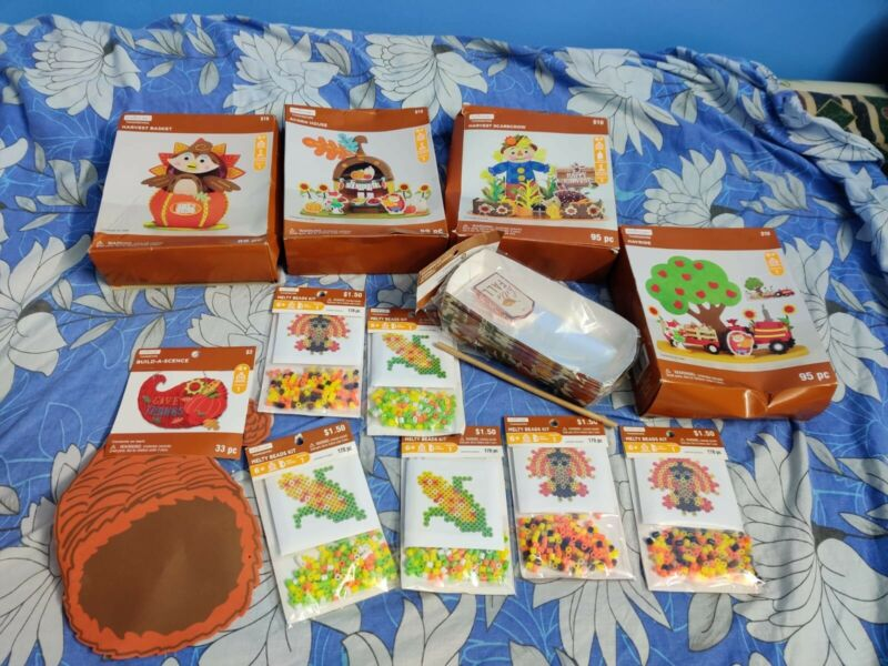 Lot of 12: Creatology Thanksgiving Craft Kits, Melty Beads, Bakeware: New/Used