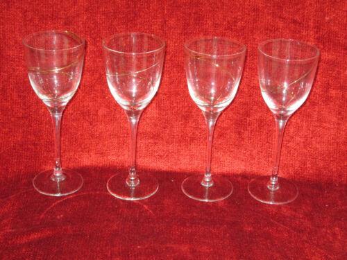 "Colony  Crystal  Strata gold swirl set of 4 wine goblets 8 1/4"""