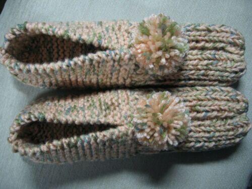 "Amish Handmade House Slippers Peach/Aspen Mix Womans X Large Mans Lg 10 1/4"""