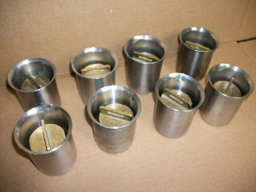 LOT OF 8  BRASS 1000 GRAMS CALIBRATION WEIGHTS IN POLAR WARE CUPS