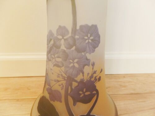 GALLE SIGNED WITH STAR GALLE MASSIVE ANTIQUE CAMEO GLASS WITH HYDRANGEA VASE!
