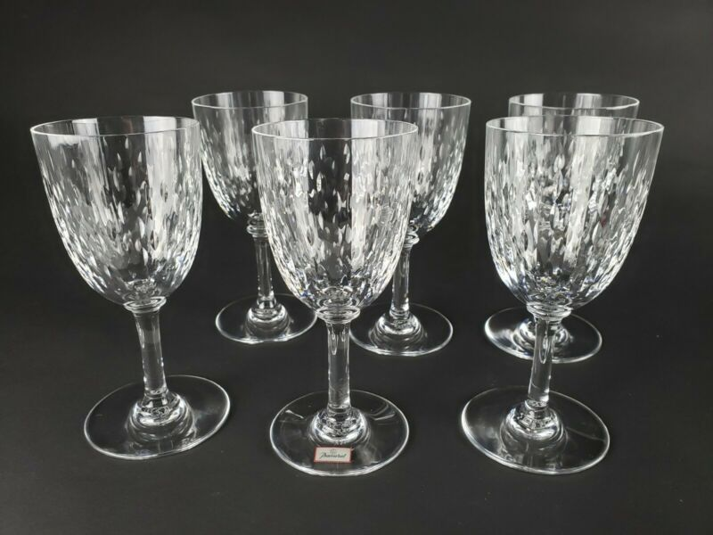 "NEW Baccarat Paris Cut Crystal Claret Wine Glass Glasses 6"" Vintage Signed"
