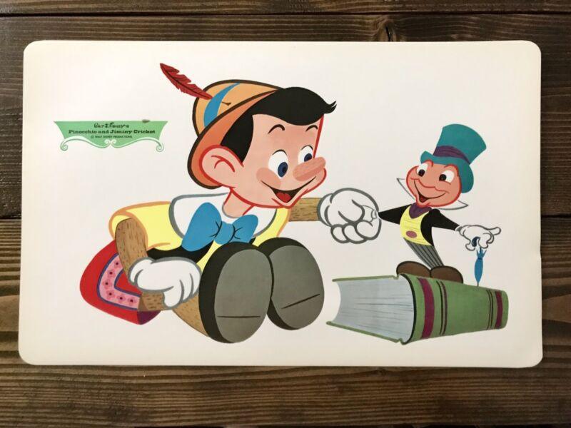Walt Disney Placemat 1960's Vintage Pinocchio & Jiminy Cricket