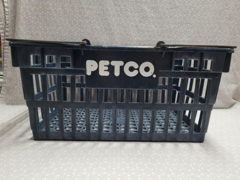 Vintage Microban Petco Grey Blue Double Handle Plastic Store Shopping Basket
