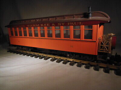 Bachmann Chicago, Milwaukee & St Paul Observation metal wheels lights g scale