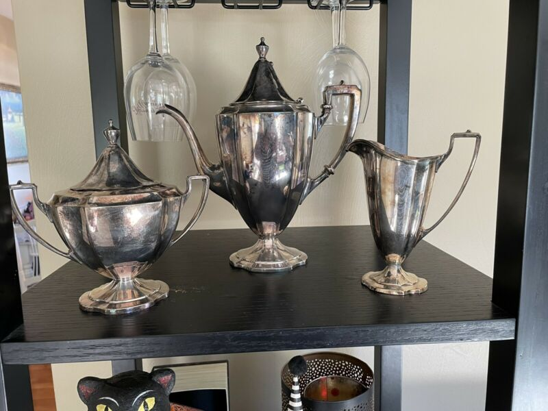 Vintage Sheffield  Silverplate 3 Piece set Coffee Tea Pot Creamer Sugar Bowl