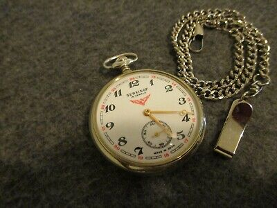 VINTAGE SERKISOF USSR 16s OPEN FACE 18J POCKET WATCH EXCELLENT-SERVICED/ACCURATE
