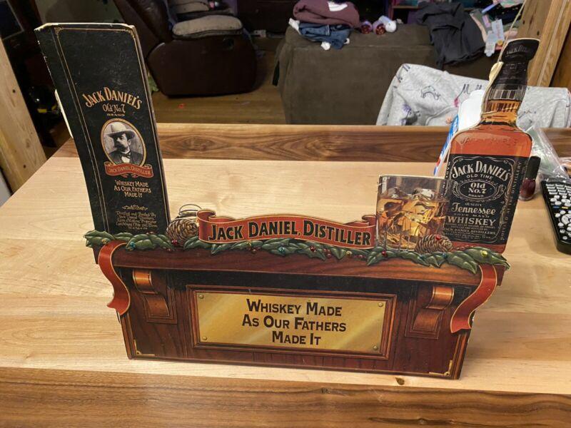 Very Rare Antique Cardboard Jack Daniel Lighted Christmas Display Advertising