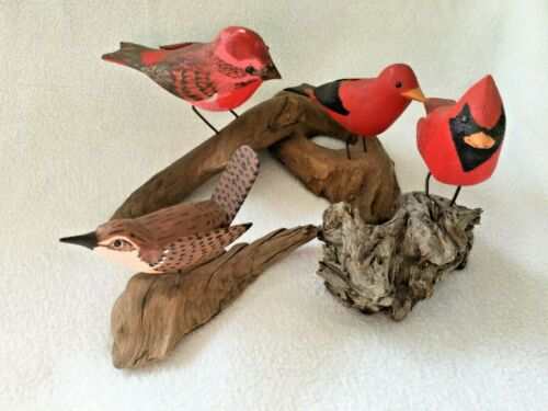 4 SIGNED Hand carved Wooden RED Bird Figurines SCULPTURE Driftwood Base LOT GIFT