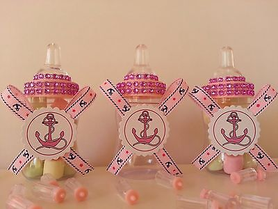 12 Fillable Bottles Baby Shower Favors Nautical Sailor Under The Sea Prizes Game - Nautical Baby Shower Favors