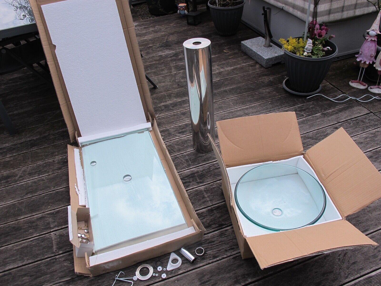 NEU Designer Waschtisch Aufsatzwaschbecken Glas Standfuss silber rund