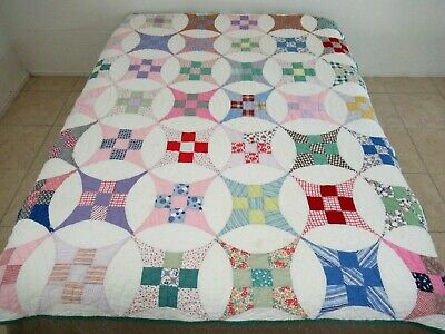 Vintage Feed Sack & Old Cotton Hand Pieced & Quilted CURVED NINE PATCH Quilt
