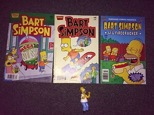 Bart Simpson Comic Books and Homer Figure