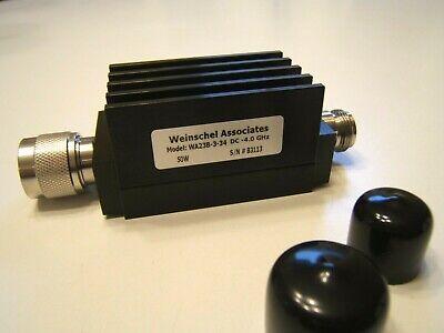 Weinschel Associates Wa23b-3-34 Attenuator. 3db 50w 4ghz.n Male To Female. New