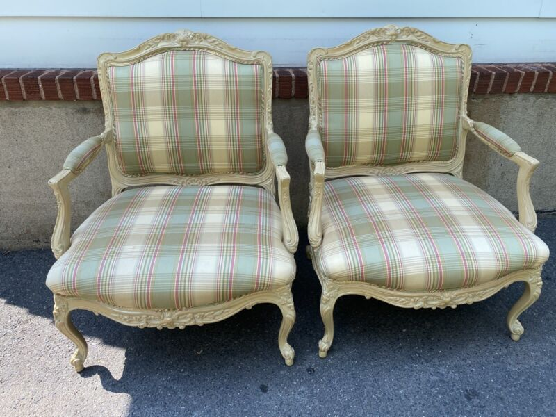 Pair of Sherrill Carved French Begeres Chairs with Beautifully Upholstered