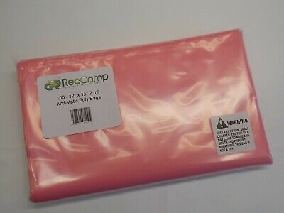 "New Lot of 50 Anti-static Bags 6/"" x 8/"" 2 Mils Pink Poly Open Ended Hard Drive"