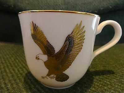 Fine Ivory China Coffee Mug, Cup by World Wide With Gold Inlay American Eagle for sale  Moncks Corner