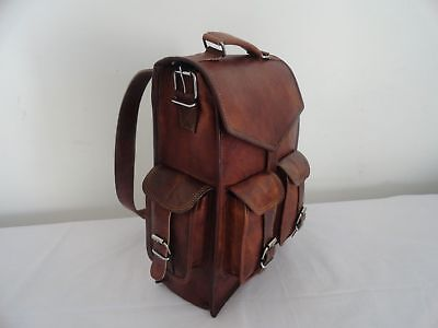 Men's Genuine Leather Large Backpack Hiking Laptop Messenger Bag Heavy Duty 15