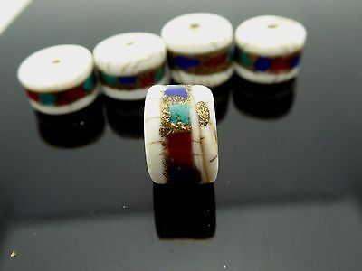Vintage Conch Shell Tibetan Tire Shape Inlay Coral Turquoise Lapis Bead 4 Pieces