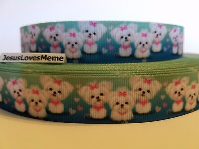 Grosgrain Ribbon White Shih Tzu Puppies Dogs with Pink Bow Hearts Teal Mint 7/8