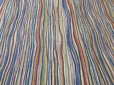 - Warm toned squiggle stripe cotton blender fabric BTHY blue tan rust  green