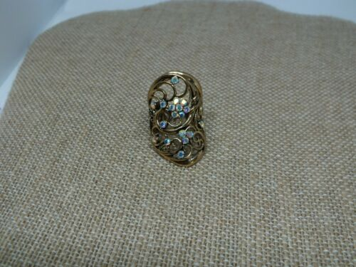 """Beautiful Gold Tone Cocktail Ring AB Rhinestones Size 7 1/2 face 1 1/4"""" Long WOW"""
