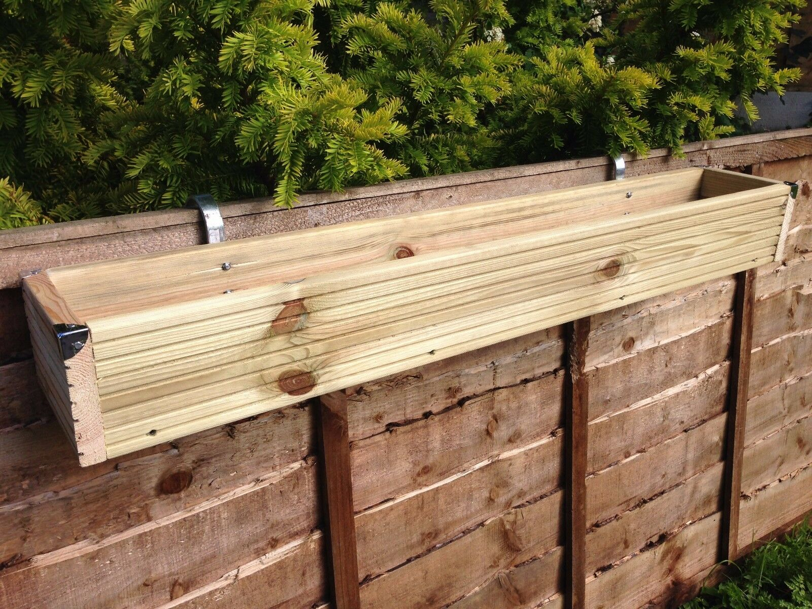 Over The Fence Panel Balcony Hanging Wooden Planter Window Box Decking Trough Ebay