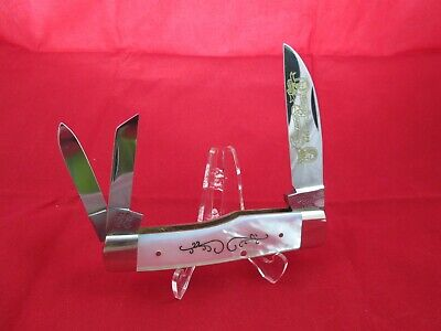 """1978 Frank Buster Fight'n Rooster Kentucky Cutlery """"Lincoln"""" """"Davis"""" Pearl Knife"""