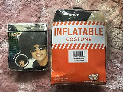 Inflatable Battery Operated SUMO Costume & Funky Afro Black Wig for Adults](Inflatable Wig)