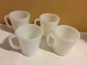 Set of 6 Fire King Milk Glass D Handle Mugs