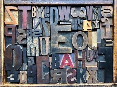 Antique Letterpress Printers Wood Type Mix 52 Pieces W Full Alphabet