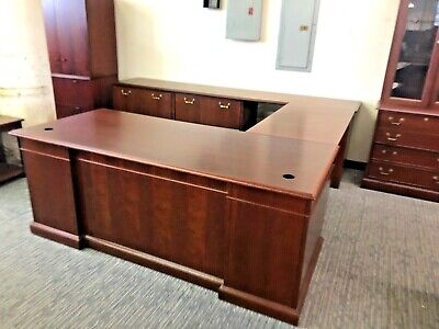 6x8.3x9 Exec.traditional U-shape Desk By Steelcase In Dark Cherry Wood Finish