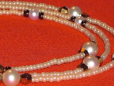 """Eyeglass Chain~Eggshell Pearl Crystal Accents~Neck Cord~NEW~28"""" Buy 3 SHIP FREE!"""