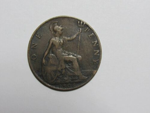 Old Great Britain Coin - 1908 Penny - Circulated