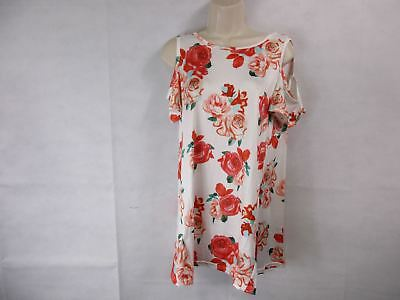 For G   Pl Womens M White Floral Print Cut Out Shoulder Short Sleeve Tops B New