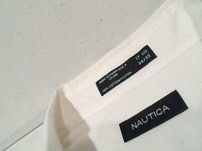 Nautica Men's Dress Shirt Size XL 17.5 - 34/35 White L/S Polo Top