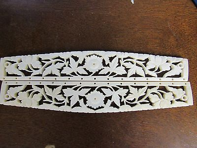 SET OF 1920's CARVED  BONE PURSE HANDLES, FRAME BAG MAKING SUPPLIES 0