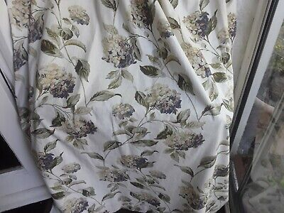 A Pair of Laura Ashley Hydrangea Lined Curtains Drapes