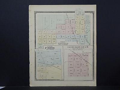 Wisconsin Fond du Lac County Map 1874 Brandon St. Cloud Calvary Village - St Cloud Village