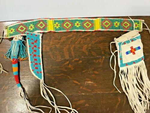 Vintage 1974 E. Onefeather Native American Lakota Sioux Beaded Belt 3 Hang Downs
