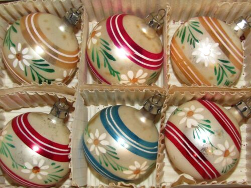 Lot Vintage Mercury Glass Daisies Flowers Stripe Ball Christmas Ornaments Poland