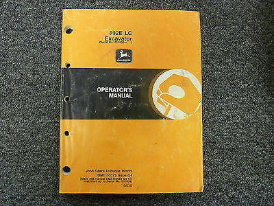 John Deere Model 892e Lc Excavator Owner Operator Maintenance Manual Omt153273