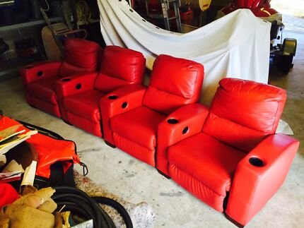 Red leather lounge sofa, recliner, theatre lounge