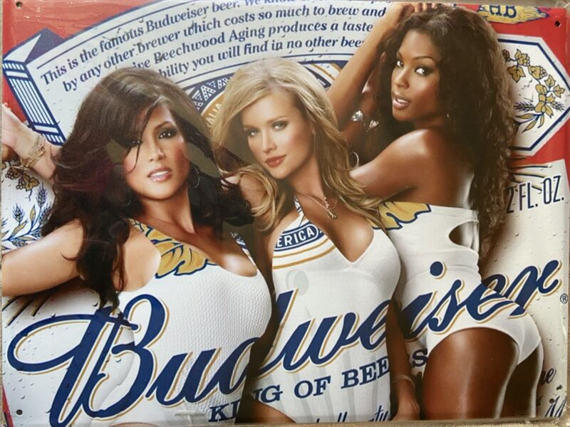 "12""x16"" Budweiser Swimsuit Babes Tin Sign"