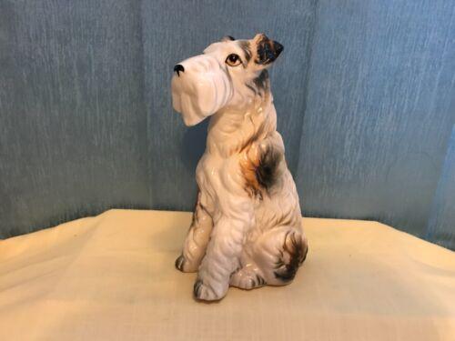 "1960s Porcelain Figurine Sitting  Fox Terrier Dog Japan 8"""