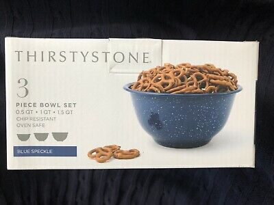 - 3pc Blue Speckle Round Bowl Set Thirstystone 0.5-1-1.5 QT Chip Resistant Enamel