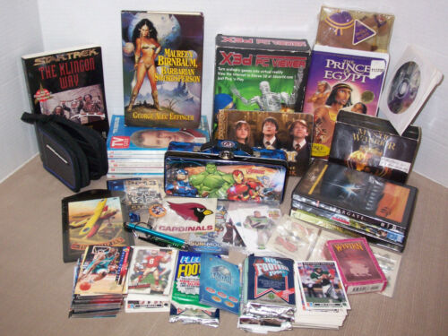 Junk drawer HUGE lot vintage Nerd,StarTrek,Sports cards,Potter, Simpsons,Klingon