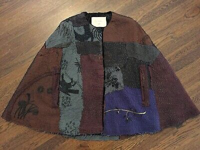 $7,850 BY WALID antique 19th century Chinese silk cape FUR LINED karakul artisan