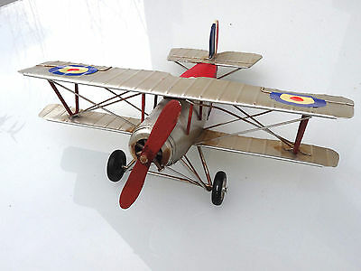 Flugzeug Blech Propellermaschine Doppeldecker 1.Weltkrieg Retro Deko Geschenk