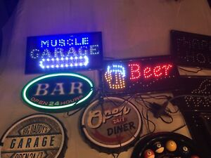 Neon and LED signs clock man cave garage